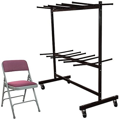 Advantage Two Tier Folding Chair Cart With 72 Burgundy Fabric Padded Metal Folding Chairs (FCC84DPIFGB72)