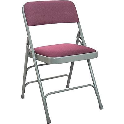 Advantage Gray Padded Metal Folding Chair, Burgundy 1