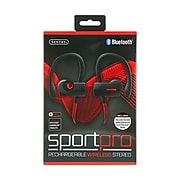 Sentry Sport Pro Wireless Bluetooth Stereo Earbuds with Mic, In-Ear, Black/Red (BT990)