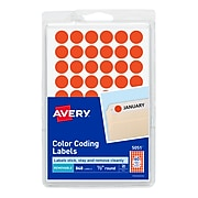 """Avery Hand Written Color Coding Labels, 0.5""""Dia., Neon Red, 60/Sheet, 14 Sheets/Pack (5051)"""