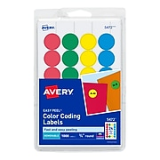 Avery Laser/Inkjet Round Print-and-Write Color-Coding Labels, Assorted Colors, 1008 Labels Per Pack(13958/5472)