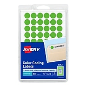"""Avery Hand Written Color Coding Labels, 1/2"""" Dia., Neon Green, 60/Sheet, 14 Sheets/Pack (5052)"""