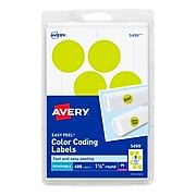 "Avery Easy Peel Laser Color Coding Labels, 1 1/4"" Dia, Neon Yellow, 8 Labels/Sheet, 50 Sheets/Pack (5499)"