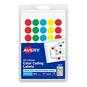 """Avery See-Through Hand Written Color Coding Labels, 3/4"""" Dia., Translucent Assorted Colors, 35/Sheet, 29 Sheets/Pack (5473)"""