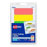 """Avery Laser Color Coding Labels, 1"""" x 3"""", Assorted Colors, 5/Sheet, 40 Sheets/Pack (5481)"""