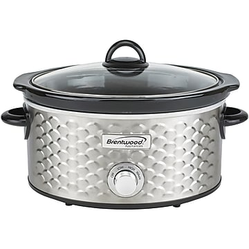 Brentwood Appliances 4.5-Quart Scallop Pattern Slow Cooker, Silver (SC-140S)