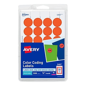 """Avery Laser Color Coding Labels, 3/4"""" Dia., Neon Red, 24 Labels/Sheet, 42 Sheets/Pack (5467)"""