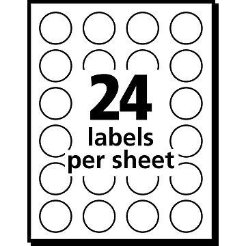 """Avery Easy Peel Laser Color Coding Labels, 3/4"""" Dia., Neon Yellow, 24/Sheet, 42 Sheets/Pack (5470)"""