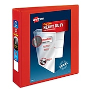 """Avery Heavy-Duty 2"""" 3-Ring View Binder, Red (79225)"""