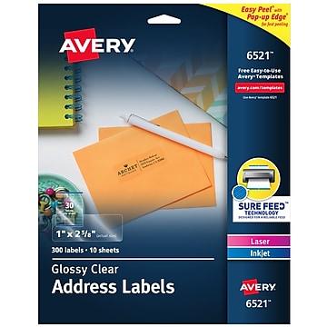 "Avery Easy Peel Laser/Inkjet Address Labels, 1"" x 2 5/8"", Glossy Clear, 30 Labels/Sheet, 10 Sheets/Box (6521)"