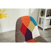 HODEDAH Multi-colored Patchwork Design Accent Chair (HIC7395)