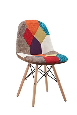 HODEDAH Multi-colored Patchwork Design Accent Chair (HIC7395)