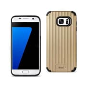 Reiko Samsung Galaxy S7 Rugged Metal Texture Hybrid Case with Ridged Back, Black & Gold(RKWL12436)