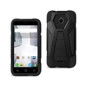 Reiko Alcatel Dawn & Streak Hybrid Heavy Duty Case with Kickstand, Black(RKWL12374)