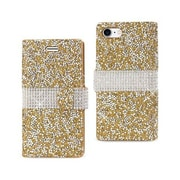 Reiko Apple iphone 7 Jewelry Rhinestone Wallet Case, Gold(RKWL11855)