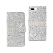 Reiko Apple iphone 7 Plus Jewelry Rhinestone Wallet Case, Silver(RKWL11812)