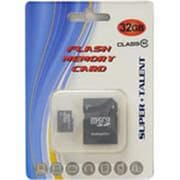 SUPER TALENT Super Talent 32GB Micro SDHC Memory Card with Adapter, Retail(MBMSD32ST10R)