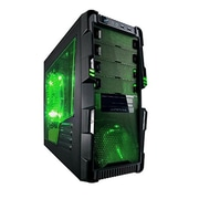Apevia No Power Supply ATX Mid Tower Case, Black & Green(MBCAHERMG)