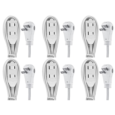 GE 2-Outlet Wall Hugger Extension Cord, 6ft., 6 Pack (50360)