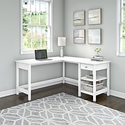 """Bush Furniture Broadview 60"""" L-Shaped Desk, Pure White (BDD260WH-03)"""