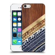 OFFICIAL TANGERINE-TANE TEXTURE & PATTERNS Navy & Gold Tribal On Wood Hard Back Case for Apple iPhone 5 / 5s / SE (9_D_1E0A7)
