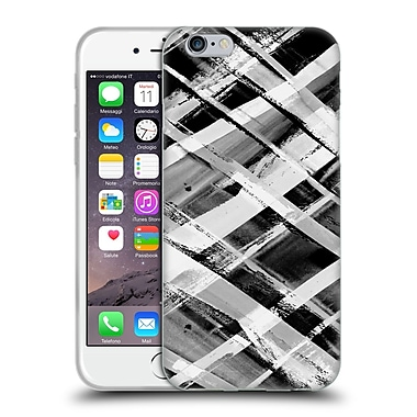 Official Amy Sia Geometric Check Stripe B & W Soft Gel Case For Apple Iphone 6 / 6S