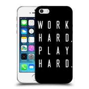 Official Caitlin Workman Typography Work Hard Play Hard Black Soft Gel Case for Apple iPhone 5 / 5s / SE