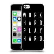 Official Caitlin Workman Typography Work Hard Play Hard Black Soft Gel Case for Apple iPhone 5c