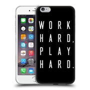 Official Caitlin Workman Typography Work Hard Play Hard Black Soft Gel Case for Apple iPhone 6 Plus / 6s Plus