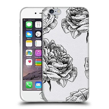 Official Caitlin Workman Black and White Roses Soft Gel Case for Apple iPhone 6 / 6s