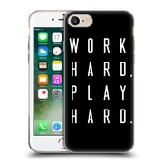 Official Caitlin Workman Typography Work Hard Play Hard Black Soft Gel Case for Apple iPhone 7