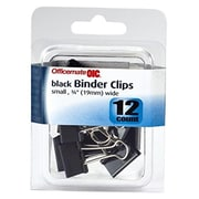 Officemate International 0.375 in. Small Black Binder Clips 12 Count, Pack of 6 (JNSN80485)