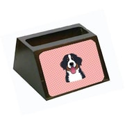 Carolines Treasures Checkerboard Pink Bernese Mountain Dog Business Card Holder (CRLT65606)