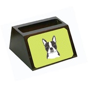 Carolines Treasures Checkerboard Lime Green Boston Terrier Business Card Holder (CRLT65630)
