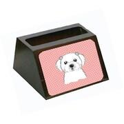 Carolines Treasures Checkerboard Pink Maltese Decorative Desktop Wooden Business Card Holder (CRLT65577)