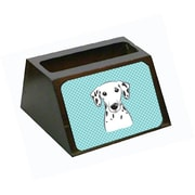 Carolines Treasures Checkerboard Blue Dalmatian Decorative Desktop Wooden Business Card Holder (CRLT65405)