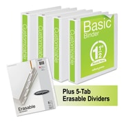 Wilson Jones Basic Round-Ring View Binder Plus Pack, White - 1.5 in. (AZTY16610)