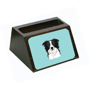 Carolines Treasures Checkerboard Blue Border Collie Decorative Desktop Wooden Business Card Holder (CRLT65463)