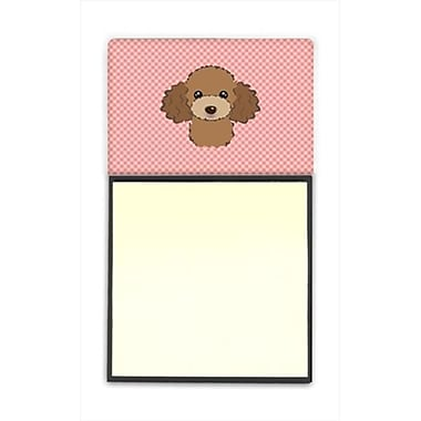 Carolines Treasures Checkerboard Pink Chocolate Brown Poodle Refiillable Sticky Note