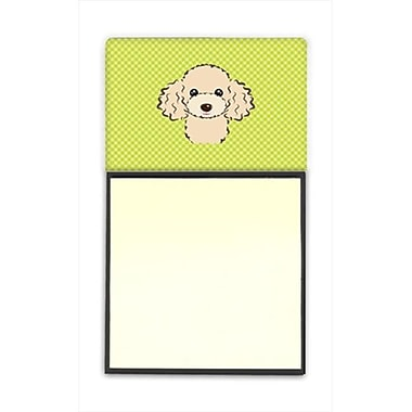 Carolines Treasures Checkerboard Lime Green Buff Poodle Refiillable Sticky Note
