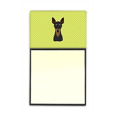 Carolines Treasures Checkerboard Lime Green Min Pin Refiillable Sticky Note