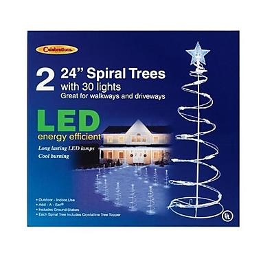 Celebrations E44G4915 2 ft. Spiral Tree Driveway Markers, White LED Light (ACHR12876)