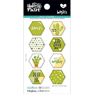 Dayspring Cards Bible Journaling-Epoxy Stickers-Hexies-Olive You - 8 Piece (ANCRD2179028)