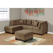 Monarch Specialties Club Chair Microfiber Ottoman Light Brown (I 83676LB)