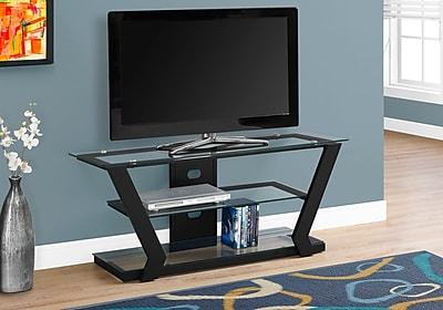 Monarch Specialties Modern Metal Framed Tv Stand Black (I 2588)