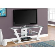 Monarch Specialties Modern Metal Framed Tv Stand White (I 2589)