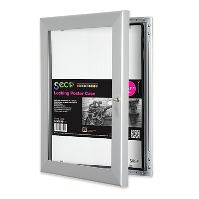 Seco® Locking Indoor/Outdoor Poster Case Shatterproof Rustproof, 8.5