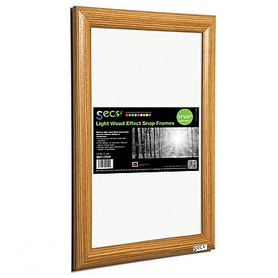"Seco® Front Load Easy Open Snap Poster Frame, 11"" x 17"", Light Wood Effect (SN1117LW)"