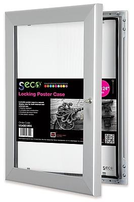 Seco® Locking Indoor/Outdoor Poster Case Shatterproof, 18