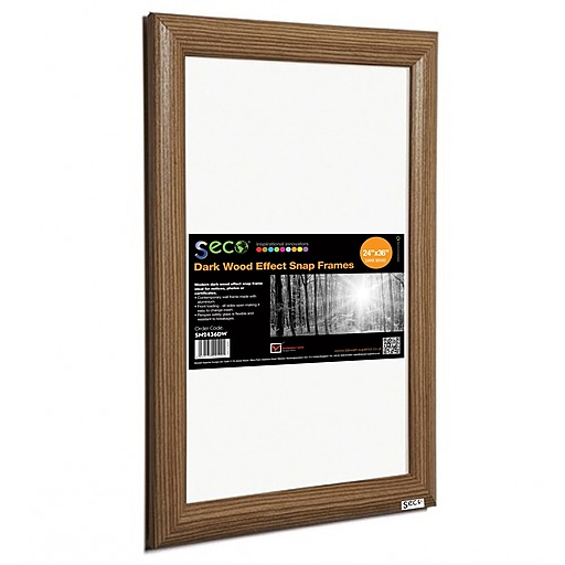 Seco Front Load Easy Open Snap Poster Frame 24 X 36 Dark Wood Effect Sn2436dw Staples
